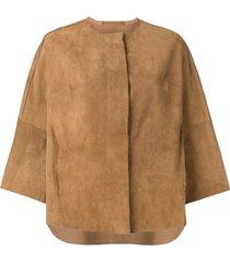 salvatore santoro 3/4 sleeves jacket - neutrals