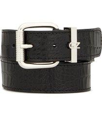 giuseppe zanotti embossed croc-effect logo plaque belt - black
