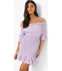 mini jurk met uitgesneden hals en geplooide zoom, lilac