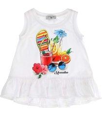 monnalisa summer party print long t-shirt
