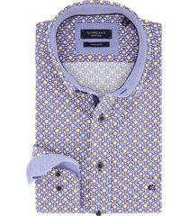 overhemd giordano blauwe print regular fit