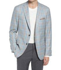 men's hickey freeman classic fit plaid wool & silk sport coat, size 48 regular - grey