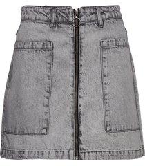 utility zip denim skirt kort kjol grå gina tricot
