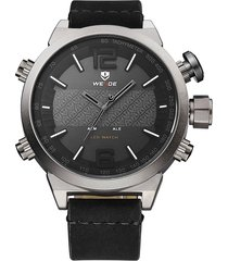 reloj weide 6101 3c negro gris acero inoxidable de alta calidad