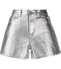 msgm metallic shorts - silver