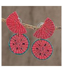 natural fiber dangle earrings, 'watermelon feast' (honduras)