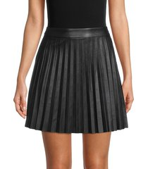 bb dakota women's private school faux leather pleated skirt - black - size 4