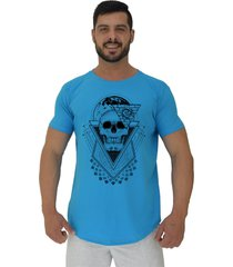 camiseta longline alto conceito world skull azul piscina - azul - masculino - algodã£o - dafiti