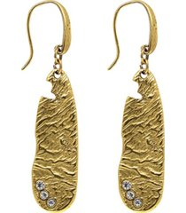 t.r.u. by 1928 14 k gold dipped sculptured drop earring embellished with swarovski crystals