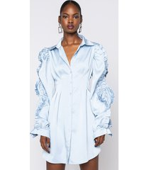 akira mint on me button up dress with accent sleeves
