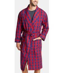 nautica men's buffalo plaid shawl-collar cotton robe