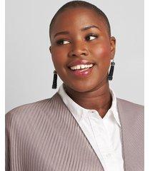 lane bryant women's faceted bead tassel earrings onesz black