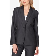 tahari asl peak-collar one-button blazer