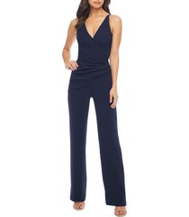 women's dress the population sam ruched jumpsuit, size xx-small - blue