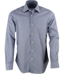barba napoli slim fit man shirt black label model with hand-stitched micro-pattern