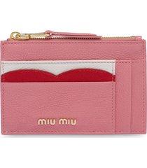 miu miu madras colour leather card holder - pink