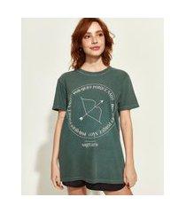t-shirt feminina mindset obvious signos sagitário manga curta decote redondo verde escuro