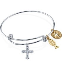 2028 silver tone bangle bracelet with cross fish and medallion charms