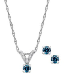10k white gold blue diamond (1/10 ct. t.w.) necklace and earring set