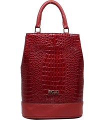 bolsa mochila de couro recuo fashion bag croco vermelho/vermelho