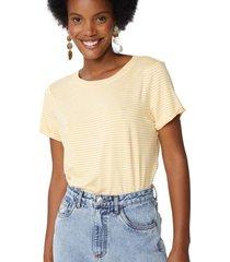 amaro feminino camiseta listrada viscolycra, listras amarelo