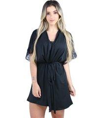 hobby roupão bravaa modas robe amarrar lingerie 238 preto - kanui