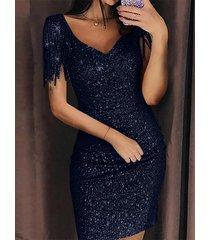 cuello de pico azul marino detalles de borlas lentejuelas adornadas vestido