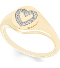 diamond (1/16 ct. t.w.) heart signet pendant in 14k yellow or rose gold