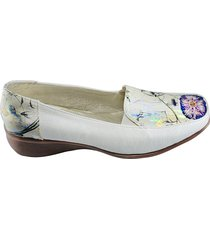 zapato tipo mocasin flores - champaña