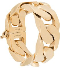 céline pre-owned 1980s pre-owned chunky curb-link bracelet - gold