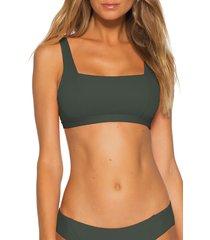 women's becca fine line bikini top, size large - green