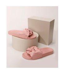 chinelo slide feminino moleca com nó rosa
