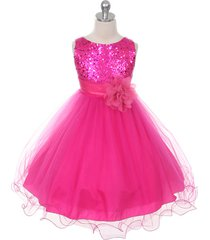 fuchsia sequined bodice flower girl dress birthday pageant bridesmaid wedding