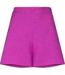 valentino logo-plaque high-waist shorts - purple