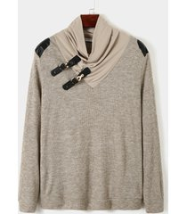 suéter de punto cálido con costura de hebilla de cuero de color sólido de moda para hombre