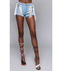 akira irina lace up denim shorts