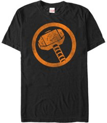 marvel men's thor distressed orange hammer logo short sleeve t-shirt