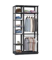 closet guarda roupa com 2 cabideiros espresso lilies móveis