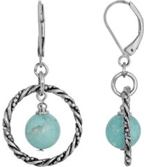 2028 silver-tone genuine stone turquoise round stone hoop earrings