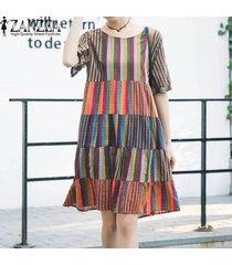 zanzea mujeres beach party floja ocasional de la llamarada de algodón vestido de tirantes más el vestido tamaño -naranja