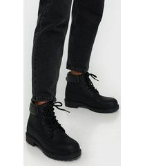 nly shoes lace boot flat boots svart