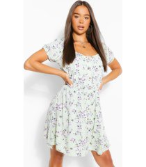 floral scoop neck skater dress, mint