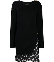 boutique moschino layered polka-dot jumper dress - black
