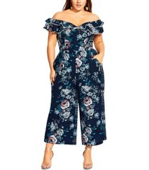 city chic trendy plus size mystery off-the-shoulder jumpsuit