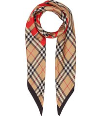burberry horseferry print vintage check silk square scarf - brown