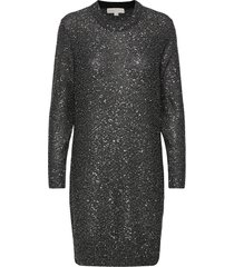 sequin ls mini dress knälång klänning silver michael kors