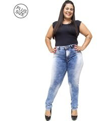 calça jeans mc2 jeans plus size skinny rasgada kettly azul