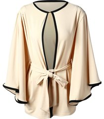 two tone trumpet sleeve belted cardigan