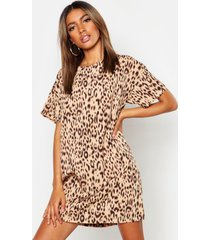 animal leopard print shift dress, camel