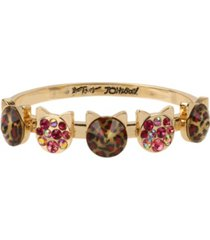 betsey johnson leopard stone cat bangle bracelet